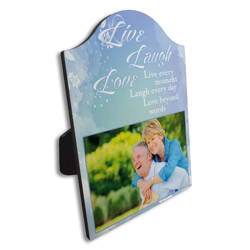 Roll over image to zoom in Personalised Live, Laugh & Love Arch Top Photo Panel Frame Gift